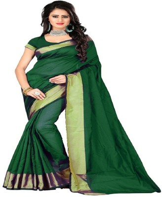 Cozee Shopping Embellished Daily Wear Polycotton Saree(Green) at flipkart