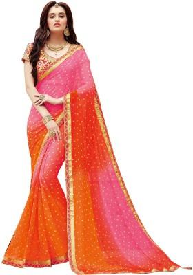 Gerbera Designer Printed Bandhej Georgette Sari