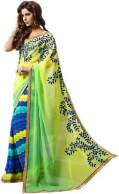 KL COLLECTION Striped, Printed Fashion Synthetic Georgette Sari