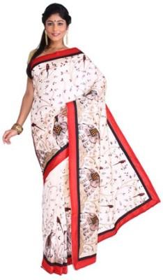 Nav Durga Applique, Woven Chanderi Art Silk Sari