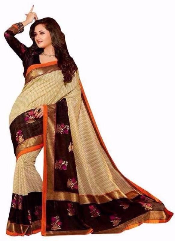 svb sarees Printed Assam Silk Cotton Linen Blend Saree(Beige)
