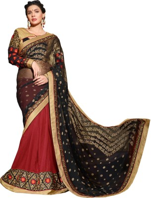 Queenbee Embellished, Embriodered, Self Design Fashion Brasso, Georgette Sari