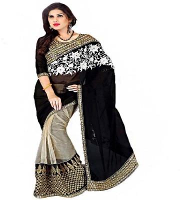 Radhecreation Solid Bollywood Handloom Net, Georgette Sari