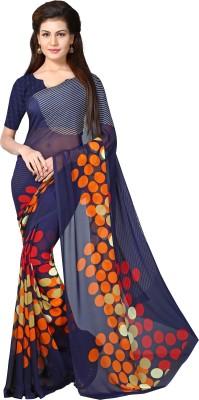Livie Geometric Print Bollywood Georgette Sari(Multicolor)