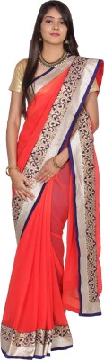 Paisley Couture Solid Fashion Georgette Sari
