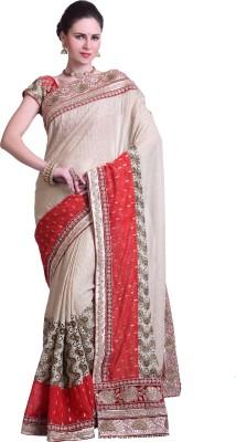 Chirag Sarees Embellished Bollywood Georgette Sari(Beige) at flipkart