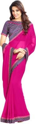 DIVYAAS Plain Fashion Georgette Sari