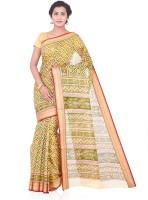 Roopkala Silks Printed Patola Cotton Sari(Green)