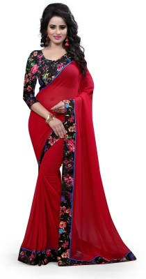 Fashion Now Plain Fashion Georgette Sari