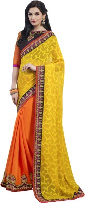 Kvsfab Embriodered Fashion Georgette Sari