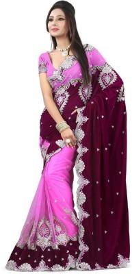 manjula feb Self Design Fashion Velvet, Net Sari