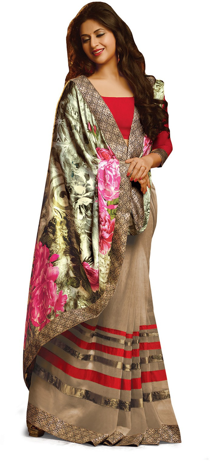 Indianbeauty Self Design, Printed Bollywood Pure Georgette Saree(Grey)