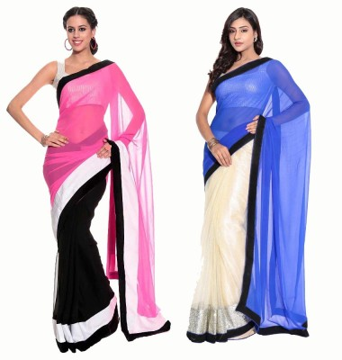 Stylezone Solid Fashion Chiffon Sari