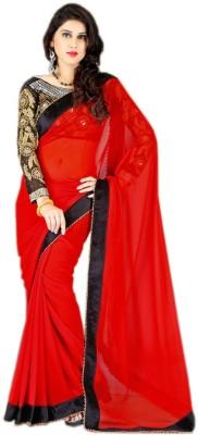 Jahnavi Creation Solid Bollywood Georgette Sari