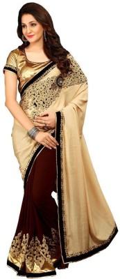 Kmozi Embriodered Fashion Georgette, Silk Linen Blend Sari