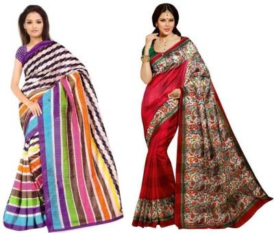 Aks Worldshop Printed Daily Wear Raw Silk Sari