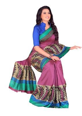 GD Striped, Printed, Embellished Fashion Art Silk Sari