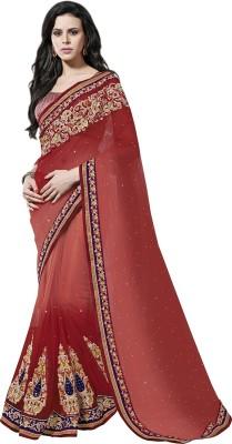 MAHOTSAV Self Design Fashion Net Saree(Red, Beige) at flipkart