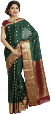 HASTHAKALA Self Design Mysore Handloom Pure Crepe Sari