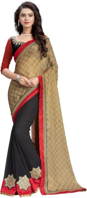 Ruddhi Embriodered, Embellished, Checkered, Self Design Fashion Georgette Sari