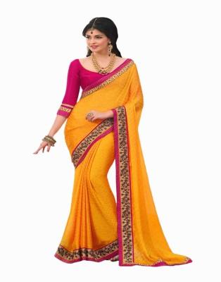 Manjaree Solid Fashion Chiffon, Satin Sari