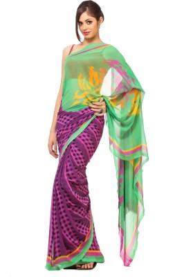 365 Labels Checkered Fashion Georgette Sari