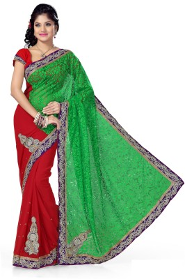 Preeti Solid, Self Design Bollywood Brasso, Chiffon Sari