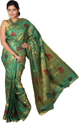 Mimosa Paisley Kanjivaram Handloom Art Silk Saree(Green) at flipkart