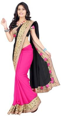Kuki Fashion Solid, Self Design Bollywood Georgette Sari
