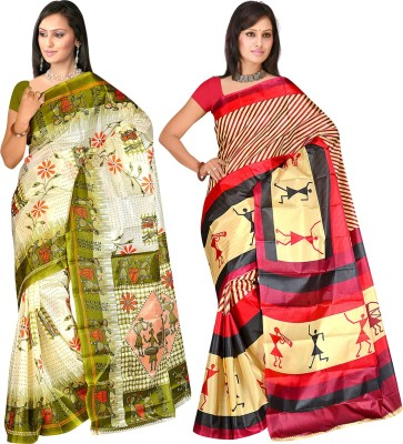 Shopeezo Printed Daily Wear Art Silk Sari