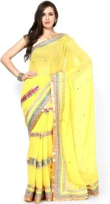 Lime Fashion Solid Fashion Chiffon Sari