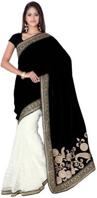 MANJULA FEB Embriodered Bollywood Velvet, Net Sari