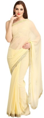 Lime Embellished Fashion Georgette Sari