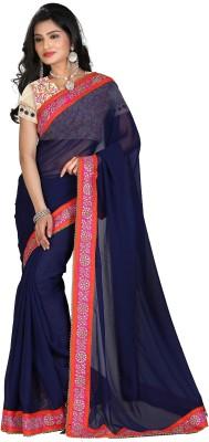 STARLIGHT CLUB Embroidered Fashion Georgette Sari(Blue)