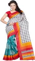Majestic Silk Printed Bhagalpuri Silk Saree(White, Blue)