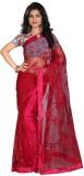 srk Embroidered Fashion Net Saree (Maroo...
