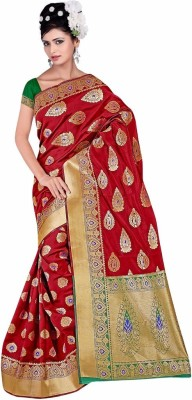 Queen's Collections Embriodered, Woven Banarasi Art Silk Sari