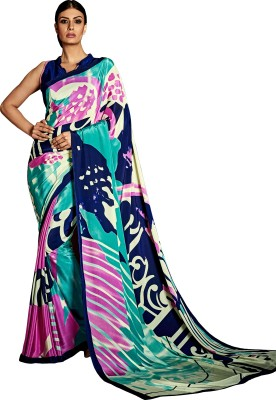 fashionzone Printed Bollywood Pure Crepe Sari(Multicolor)
