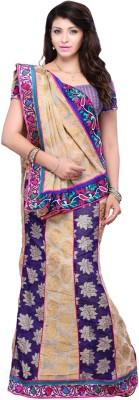 Ruda Self Design Lehenga Saree Handloom Jacquard Sari