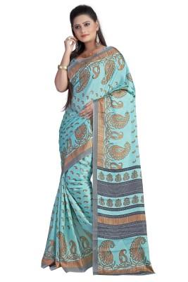 Ethnicup Floral Print Bollywood Silk Sari