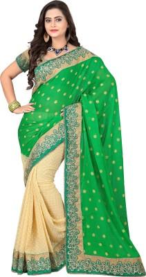 Crafts N Culture Solid Fashion Georgette, Jacquard Sari