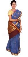 Thara Sarees Self Design Kanjivaram Art Silk Sari(Blue)