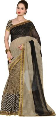 Way2 Checkered Chanderi Handloom Silk Linen Blend Sari