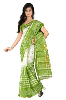 Moon Sarees Checkered, Printed Ikkat Handloom Art Silk Sari