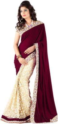 Maitri Fashion Embriodered Bollywood Brasso, Velvet Sari