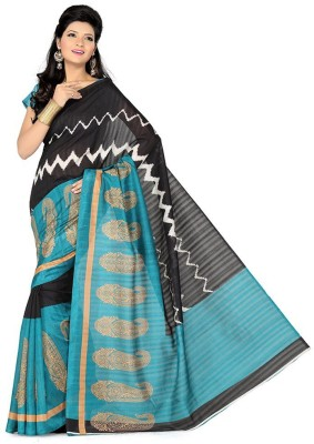 The Designer House Striped, Printed Bhagalpuri Silk Sari