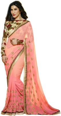 The Color Tex Embriodered, Printed Bollywood Georgette Sari