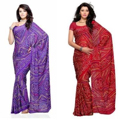 Deepak Sari Printed Bandhej Synthetic Fabric Sari