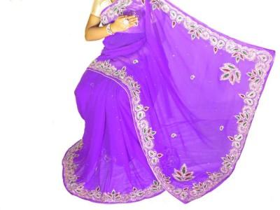 Home Design Self Design, Embriodered Fashion Handloom Pure Chiffon Sari