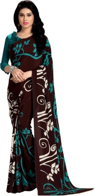 Saara Printed Daily Wear Crepe Saree(Brown) at flipkart